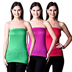 NumBrave Women's Green, Purple Tube Top (Combo of 2)