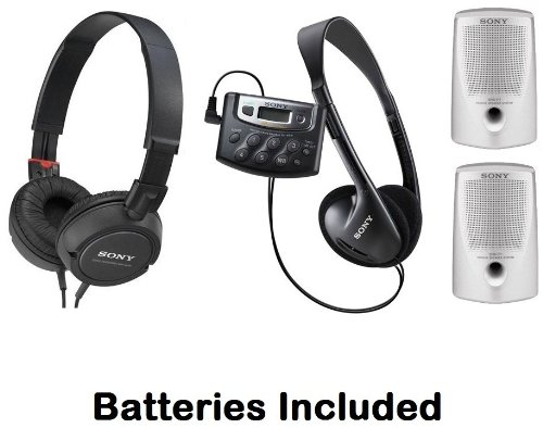 Sony Walkman Digital Tuning Palm Size AM/FM Stereo Radio with Weather Band, 20 Station Preset Memory, DX Switch for Exceptional Reception, Belt Clip, Over the Head Stereo Headphones, Studio Monitor Swivel Headphones (Black) & Passive Lightweight Portable
