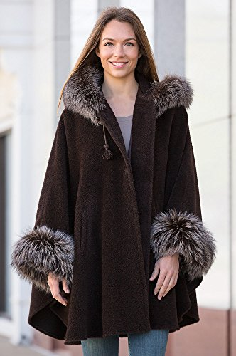 Ashby Hooded Alpaca Wool Cape with Fox Fur Trim, NEW BROWN/SILVER, Size 1 SIZE
