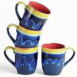 Cultural Concepts Blue And Purple Basic Studio Coffee Mug Set Of 4