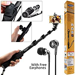DMG Extendable handheld Yunteng 1288 Pro 2-In-1 Adjustable Self Portrait Yunteng Selfie Stick Monopod for Camera and iPhone, Smartphones with Bluetooth Remote Shutter (BLACK)