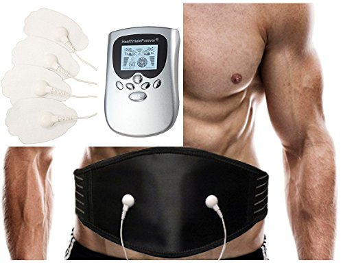 Best Powerful Smart Pain Relief Electric Impulse OTC 8 Modes Massager + Lower Back Pain Belt Plus for Massaging Lumbar Support | Excellent Back Acupressure Brace Support Belt FDA CLEARED (Silver) HealthmateForever PM8 LIFETIME WARRANTY! (Back Brace Tens Unit compare prices)