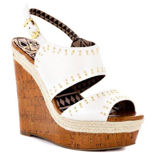Jessica Simpson Women'S Geno Wedge Sandal,White Silk Kid,9 M Us