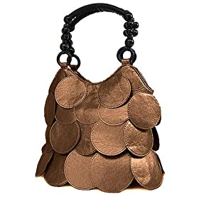 Bronze Circle Designer Style Overlay Handbag Bag Purse