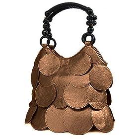 Bronze Circle Designer Style Overlay Handbag Bag Purse
