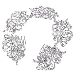Ever Faith Silver-Tone Austrian Crystal Wedding Floral Vine Bridal Double Hair Comb Headpiece Clear N06469-1