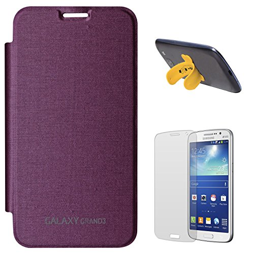 DMG Smooth PU Leather Back Replace Flip Cover Case For Samsung Galaxy Grand Max SM-G7200 (Purple) + Touch U Silicone Stand + Matte Screen