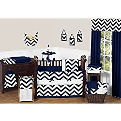 Sweet Jojo Designs Navy Blue and White Chevron ZigZag Unisex Baby Bedding 9 Piece Zig Zag Boy or Girl Crib Set Collection