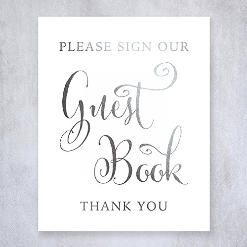 Guest Book Silver Foil Sign Wedding Reception Party Signage Art Print Poster Silver Wedding Decor 8 inches x 10 inches D34