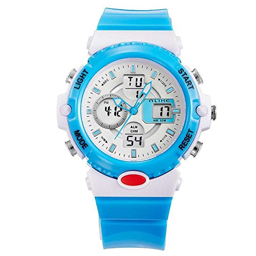 Alike Bright Quartz Electronic Analog And Digital Watreproof Watch With El Backlight,Hourly Chime,Alarm Clock Blue