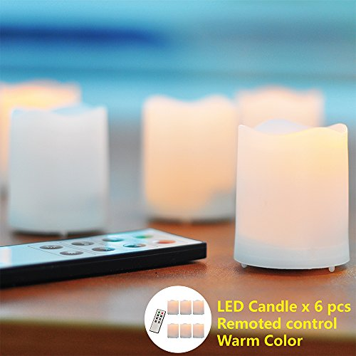 """Lidu 6 Pack Unscented Small Flameless Votive Candles. Dia. 1.55""""X1.75"""".Warm White.Round Melted Edge. Battery Operated.Remote Control & Timer"""