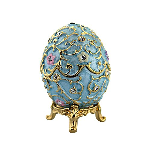 Blue Faberge Egg set with Swarovski Crystals includes Removable Foam Ring Insert, Limited Edition