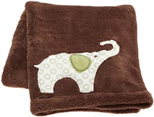 "Carter's Green Elephant Boa Blanket, Green/Choc, 30 X 40"""