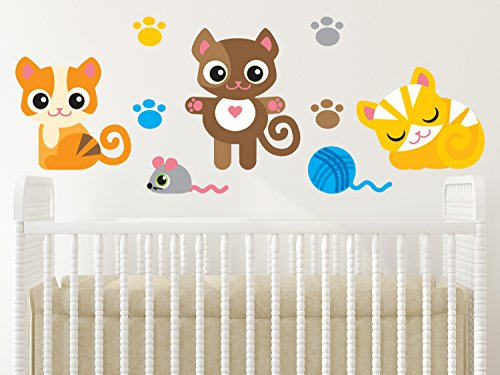Sunny Decals Adorable Kittens with Paw Prints, Mouse and Ball of Yarn Cat Fabric Wall Decals (Set of 3)