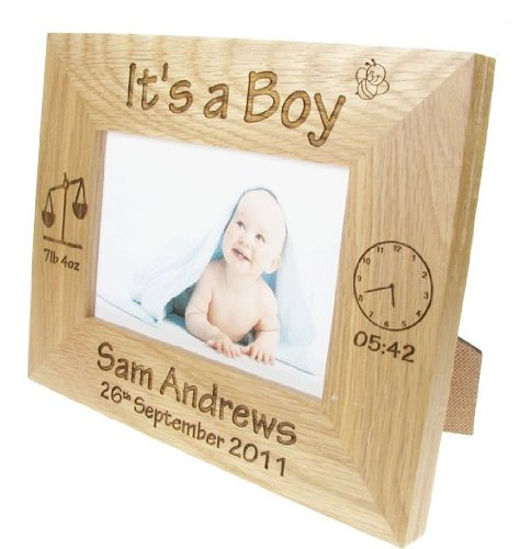 New Born Baby Boy Gift, Personalised Engraved Oak Photo Frame, New Baby Photo Frames, New Baby Gifts