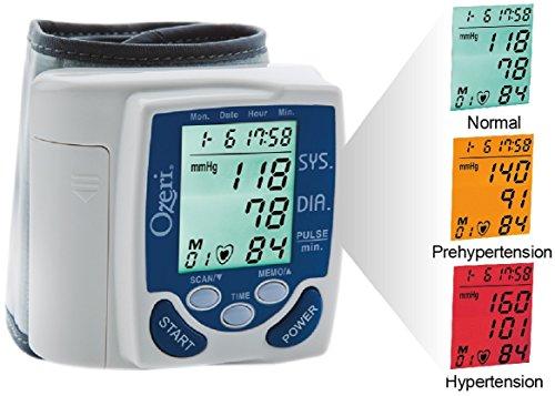 Ozeri BP2M CardioTech Premium Series Digital Blood Pressure Monitor with Hypertension Color Alert Technology