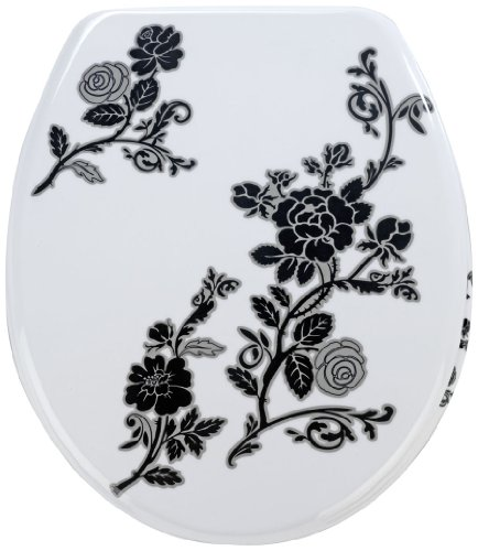 Wenko 18361100 Thermoset Plastic Toilet Seat, Rose Noir