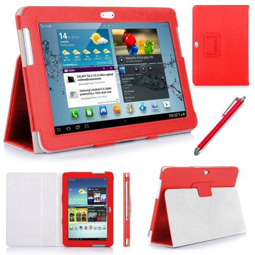 ebestStar Luxury Leder Case für Samsung Galaxy TAB 2 10.1 P5100/P5110 Tablet mit Standard-Form Stand, inkl. Displayschutzfolie und Eingabestift, Rot