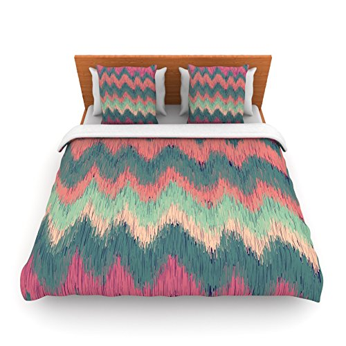 "Kess Inhouse Nika Martinez ""Ikat Chevron"" Multicolor Twin Fleece Duvet Cover, 68 By 88-Inch front-959861"