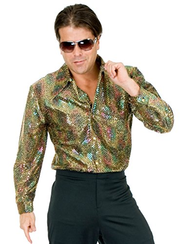 Mens Adults 70s Metallic Multi-Colored And Gold Sequin Disco Shirt Costume