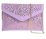 Womens Envelope Clutch Chain Foil Floral Purse Lady Handbag Shoulder Evening Bag (Purple)