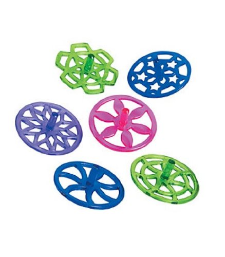 Plastic Brighty Colored Spin Tops-12 pieces - 1