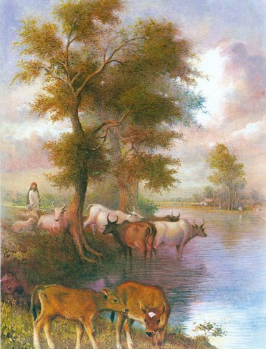 "Dolls Of India ""Cowherd With Cows"" Reprint On Paper - Unframed (27.94 X 22.86 Centimeters)"