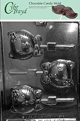 Cybrtrayd K127 Kitty Kat Pop Chocolate Candy Mold with Exclusive Cybrtrayd Copyrighted Chocolate Molding Instructions