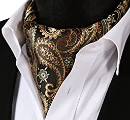 SetSense Men\'s Paisley Jacquard Woven Self Cravat Tie Ascot One Size Gold / Brown