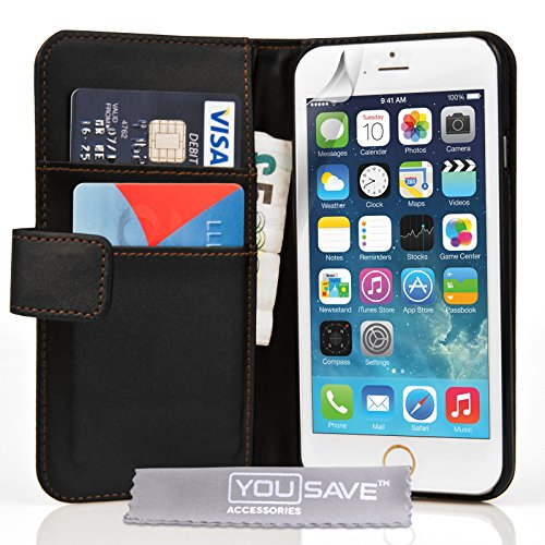 Yousave Accessories iPhone 6 Plus Case Black PU Leather Wallet Cover