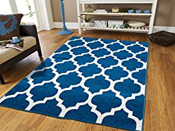 New Fashion Luxury Morrocan Trellis Area Rug Blue and White Lines 5x8 Rugs Western Style Modern Rugs For Living Room Contemporary Rugs 5x7 Blues, Carpet Washable 5x8