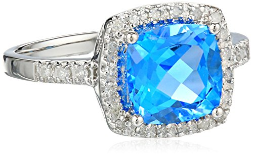 Sterling Silver Cushion Swiss Blue Topaz Diamond Ring (0.14 cttw, I-J Color, I2-I3 Clarity), Size 7