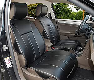 209100 2 front car seat cover cushions pu leather compatible for infiniti q60 black. Black Bedroom Furniture Sets. Home Design Ideas