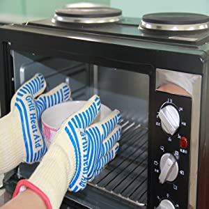 #1 Oven Extra Long Cuff Gloves - 13 to Protect Arms - Defy Heat up to 662°F - Set of 2... by Grill Heat Aid