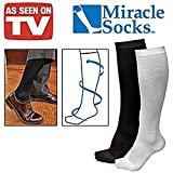Miracle Socks As Seen ON TV Anti-Fatique Compression Socks UNISEX Black Size L/XL (Womens 10-13.5 Mens 10-12.5)