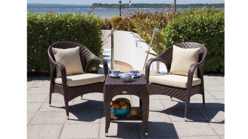 Cozy Bay® Havana 2 Seater Rattan Furniture Cappuccino Metallic Garden Conservatory Deep Seating Set