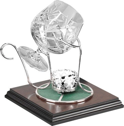 Brandy Warmer Silver Plated Cradle with Lead Crystal Brandy Glass