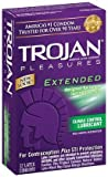 Trojan Pleasures Extended Pleasure Lubricated Latex Condoms-12 ct (Pack of 1)