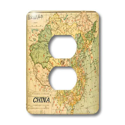 Lsp_128602_6 Florene Vintage Ii - Centuries Old Map Of China - Light Switch Covers - 2 Plug Outlet Cover
