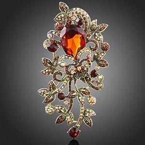 4.8 18k Gold GP Teardrop Topaz Red Rhinestone Leaf Brooch Pin Swarovski Elements Crystal