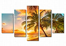Extra Large Canvas Prints Wall Art Decor Sunset on Sea Beach With Coconut Tree Framed 36x60in - 5 Panel Contemporary Sunrise Seascape Giclee Modern Photo Canvas Art for Home and Office Decoration