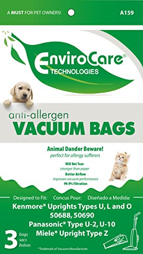 EnviroCare Kenmore Upright Type u, L and O Allergen Filtration Cloth Vacuum Cleaner Bags, Fits Style 50688 and 50690, Pack of 3 (Dvc Vacuum Cleaner Bags compare prices)