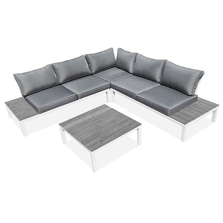 Set salotto salottino divano angolare tavolino cuscineria imbottita grigia esterno 48790