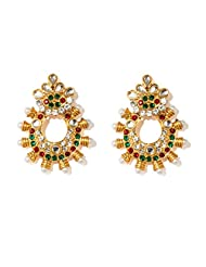 Bindhani Gold Plated With Marron And Green Crystral Stones Dangler & Drop Ethnic Fashion Party Wear Earrings For...