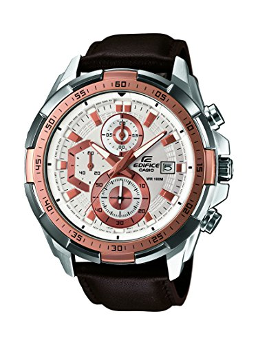 CASIO EDIFICE Men's Quartz Watch with White Dial Analogue Display and Brown Leather Strap EFR-539L-7AVUEF
