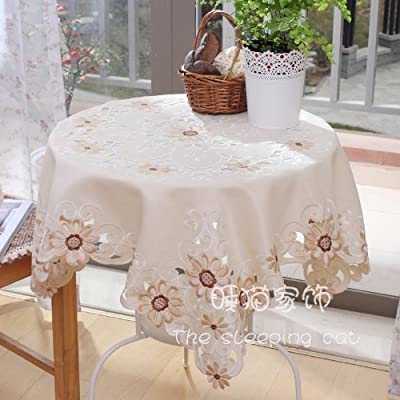DIAIDI 2013 Tablecloth Coffee, Embroidery Rural Tea Table Cloth, African Chrysanthemum Home Kitchen Table Cover, Chinese Flower Table overlays Square for Restaurant Decor, More Sizes