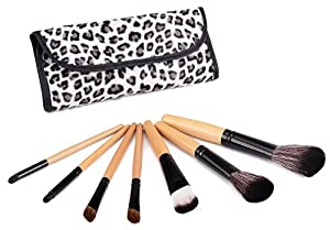 Glow 7 Pc Wooden Handle Make up Brushes Set with Leopard Print