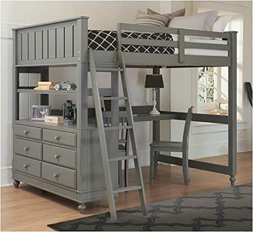 Full Loft Bed with Desk (Stone) (Loft Beds Full compare prices)