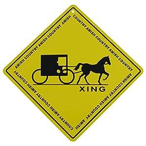 Amazon.com: Metal Yellow Caution Warning Road Street Sign Amish