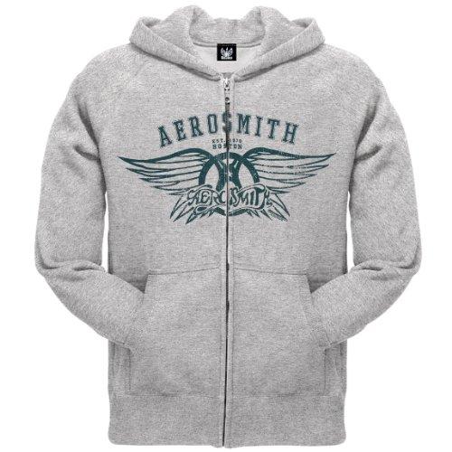 Old Glory Mens Aerosmith - Boston Zip Hoodie - Medium Grey